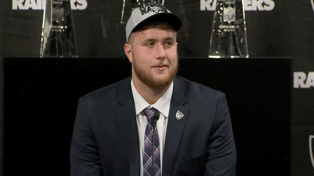 Kolton Miller appears at a press conference with the Raiders on April 27, 2018. (Jason Westerhaus/FOX5)