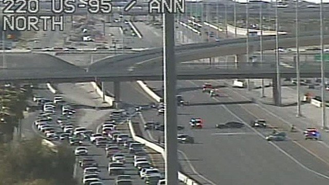 One person was killed in a crash on the U.S. 95 in northwest Las Vegas, according to Nevada Highway Patrol. (FastCam)