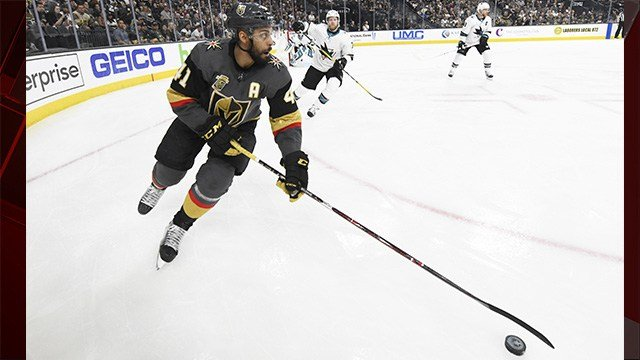 Pierre-Edouard Bellemare was not on the ice for practice Friday morning after taking a cross-check to the head during the third period of Game 1. (Photo: Sam Morris / Las Vegas News Bureau)