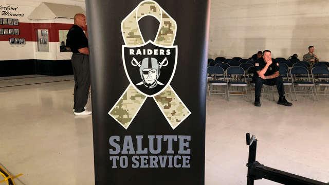 The Raiders announced their draft picks from Nellis Air Force Base on April 28, 2018. (Dylan Kendrick/FOX5)