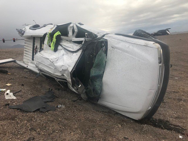 Scene from the rollover crash one Losee Road and the IR215. (Photo: NHP)