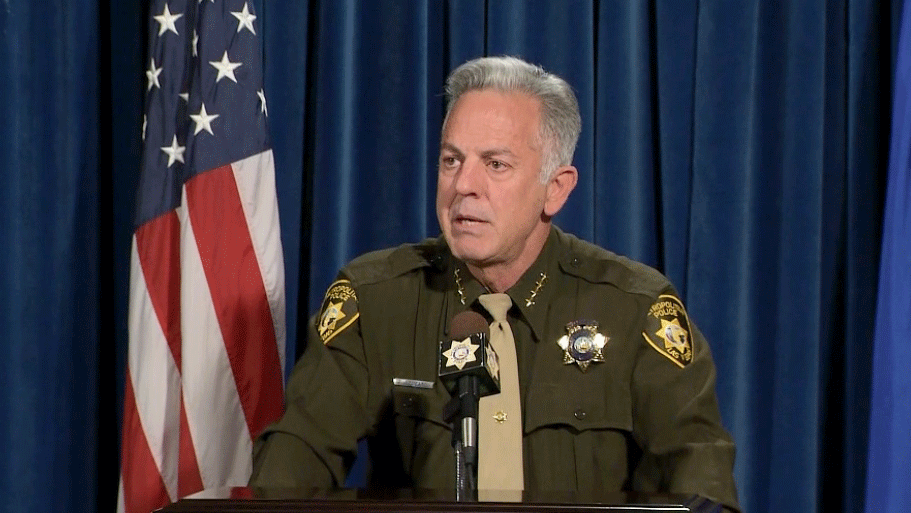Sheriff Joseph Lombardo held a press conference on May 1, 2018. (Jason Westerhaus/FOX5)