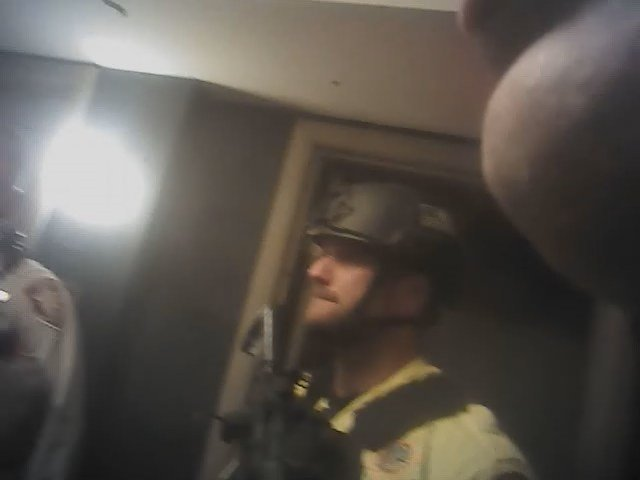 Police are seen in body camera footage released by Metro showing the events of 1 October. (LVMPD)