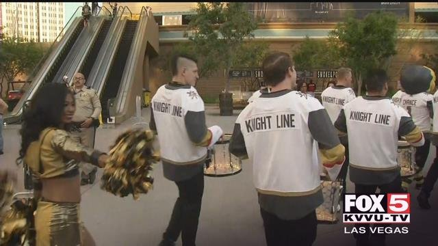 The drumming heard at Toshiba Plaza before a home game at T-Mobile Arena belongs to the Knight Line. (Roger Bryner / FOX5)