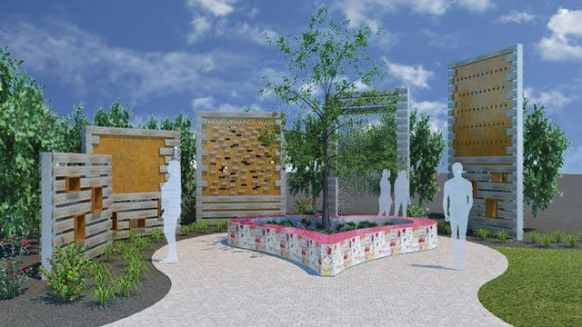 A rendering of the proposed Remembrance Wall at the Downtown Las Vegas Healing Garden (Get Outdoors Nevada).