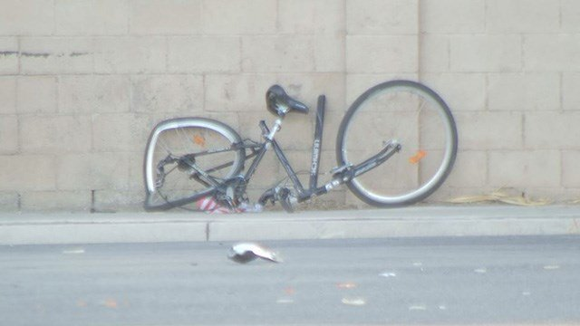 Las Vegas Metropolitan Police said the bicyclist hit in an east Las Vegas crash on April 28 has died. (FOX5)