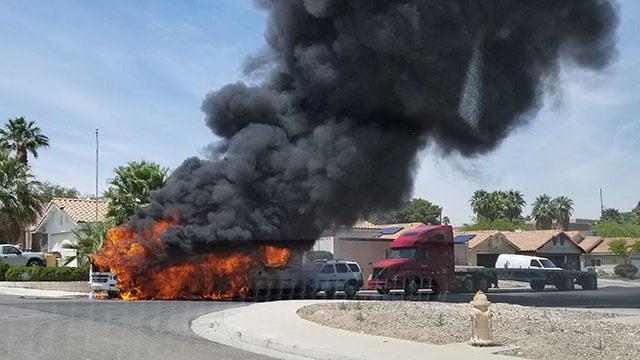 RV fire near Hacienda Avenue and Sandhill Road. (Photo: Sherri Stamper)