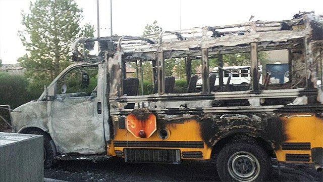 Vandals set fire to a Boys and Girls Club of Southern Nevada bus May 8, 2018 (Boys and Girls Club).