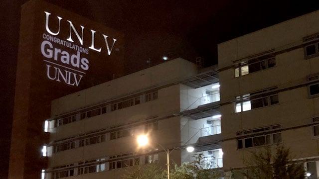 A sign on a UNLV building congratulates graduates on their accomplishment. (Mike Doria/FOX5)