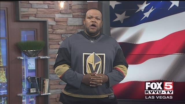 Carnell Johnson, a.k.a. Golden Pipes sings the National Anthem for the Vegas Golden Knights.