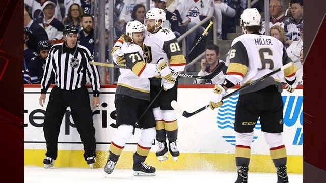 Jonathan Marchessault scored twice and Marc-Andre Fleury stopped 30 shots, lifting the Vegas Golden Knights to a 3-1 series-evening win over the Winnipeg Jets on Monday night in Game 2 of the Western Conference final. (Photo: Vegas Golden Knights)