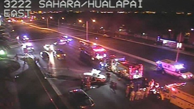 Metro Police said one person was killed in a crash at Hualapai Way and Sahara Avenue Tuesday night. (Photo: FastCam)