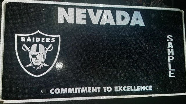 A design prototype for the Las Vegas Raiders license plate. (Photo: DMV)