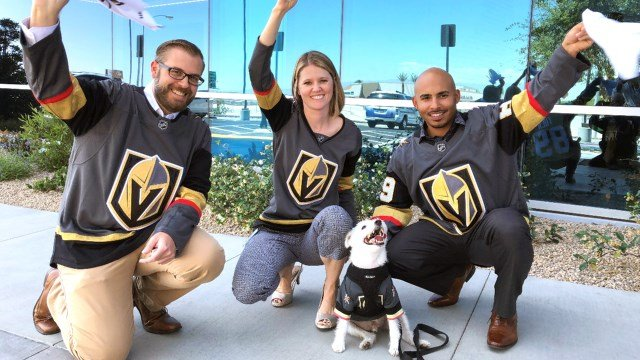 Bark-Andre Furry with Credit One Bank members during the donation ceremony. (Photo: Credit One Bank)