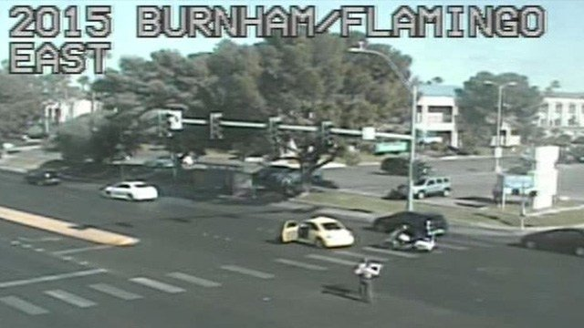 A crash critically injured a pedestrian at Flamingo Road and Burnham Avenue Thursday afternoon, according to Las Vegas Metropolitan Police. (Photo: FastCam)