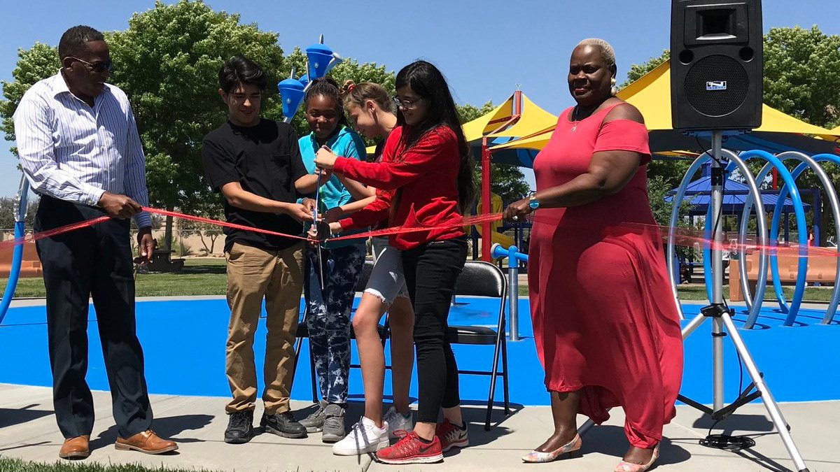 The opening ceremony for the new splash pad at Vol Tobel Park. (Photo: Dan Kulin/Clark County Office)