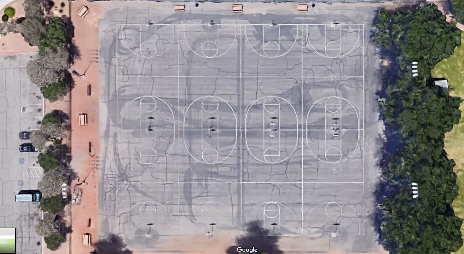 Before this week, Sunset Park's basketball court had a dangerous surface with many cracks and temporary repairs. (Photo: Google)