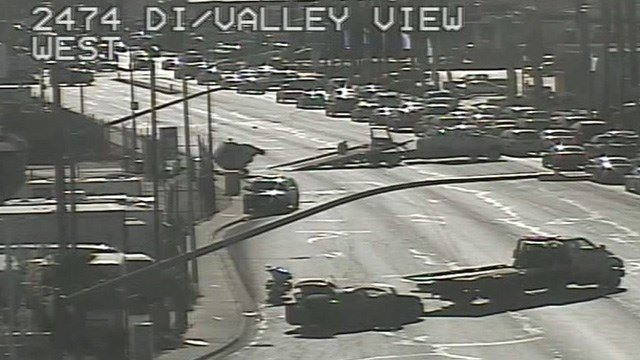 A three-car crash ended with a man fleeing a stolen vehicle and then being caught by police near Desert Inn and Valley View Tuesday afternoon, police said. (Photo: FastCam)