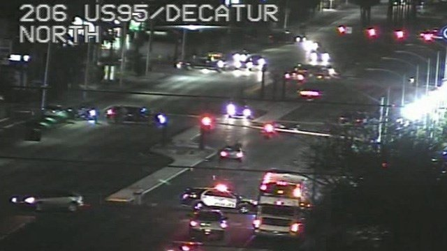 A man was killed after being hit while crossing Decatur Boulevard just north of US 95 Wednesday night, police said. (Photo: FastCam)