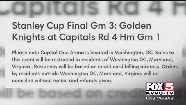 The Washington Capitals blocked ticket sales to out-of-towners.