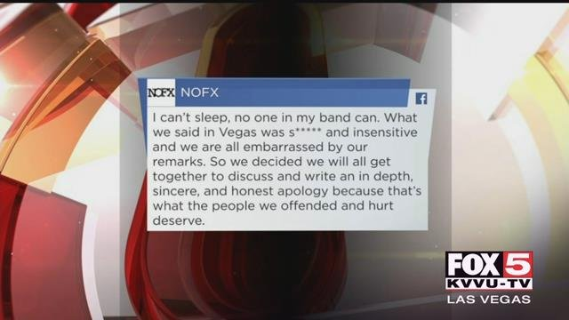 The punk rock band NOFX has apologized for the insensitive comments it made on stage in Las Vegas about 1 October victims.