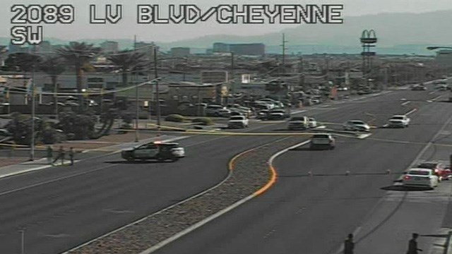 A moped rider was shot and killed on Las Vegas Boulevard near Cheyenne Avenue, police said. (Photo: FastCam)