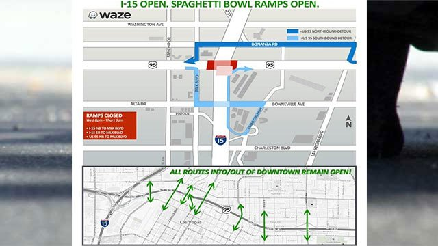 A map shows the closures taking place June 6, 2018 (NDOT)