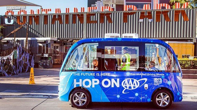 A lucky couple will tie the knot while riding aboard a AAA self-driving shuttle on June 30, 2018 (Google/ FOX5).