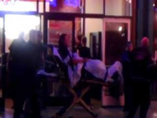 Amateur video shows a man being wheeled out of the Heart Attack Grill Saturday night