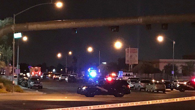 Scene of an officer-involved shooting at Blue Diamond and Valley View Blvd, June 09, 2018. (Photo: Brad Boyer/FOX5)