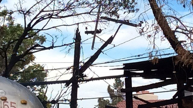A damaged power pole that knocked out power to over 100 homes. (Photo: Tim Szymanski/Fire & Rescue)