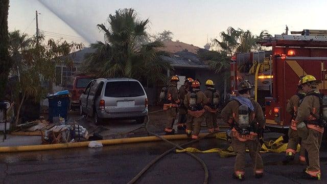 Scene of a fire that damaged two homes in downtown Las Vegas. (Photo: Tim Szymanski/Fire & Rescue)
