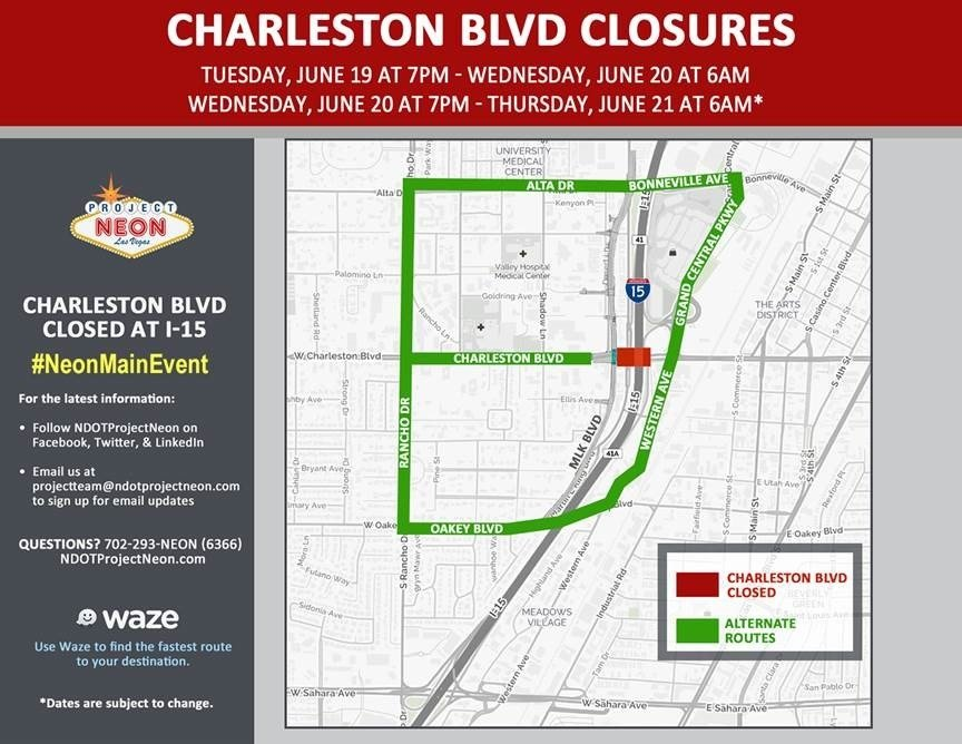 Alternate routes while Charleston Boulevard is temporarily closed for Project Neon. (Image: Nevada Department of Transportation)