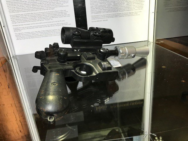 """Han Solo's pistol from """"Return of the Jedi"""" on display at Planet Hollywood. (Photo: Brad Boyer/FOX5)"""