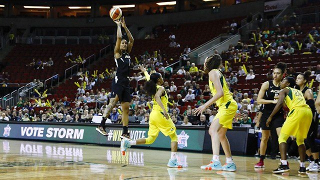 A'ja Wilson had 25 points and 15 rebounds and the Las Vegas Aces pulled away in the fourth quarter to beat the Seattle Storm 87-77 on Tuesday night. (Photo: Las Vegas Aces)