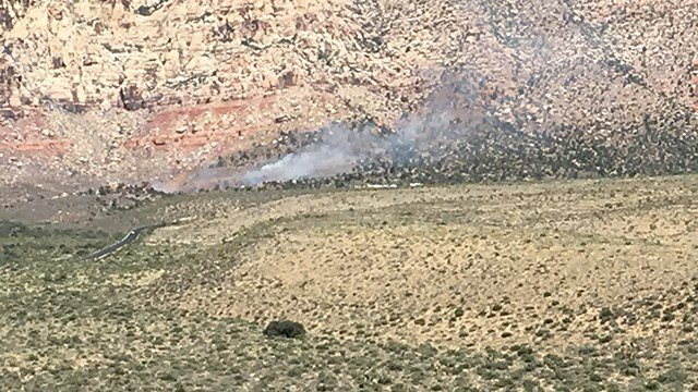 A fire burned near Pine Creek Trail at Red Rock Canyon. (Photo: Jason Westerhaus/FOX5)