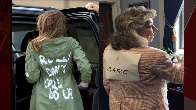 Rep. Dina Titus responded to a jacket worn by Melania Trump with a fashion statement of her own. (Images: Andrew Harnik/AP, Dina Titus/Twitter)