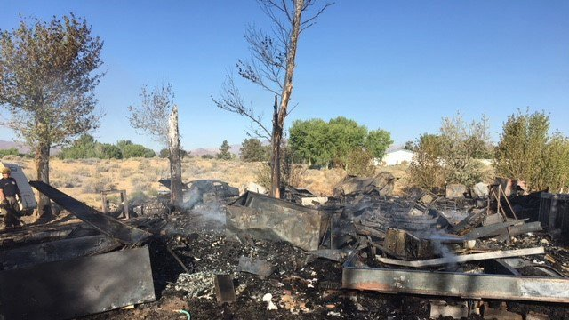 A trailer in Sandy Valley was destroyed by a fire. (Photo: Clark County Fire Department)