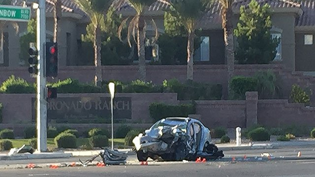 A driver was killed after crashing into a semi-truck June 26, 2018 (Luis Marquez / FOX5).