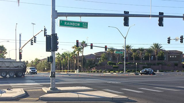 The intersection of Rainbow Boulevard and Robindale Road was shut down after a fatal crash June 26, 2018 (Luis Marquez / FOX5).
