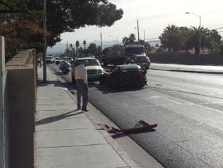 At least four vehicles were involved in a crash in east Las Vegas Monday. (Les Krifaton/FOX5)