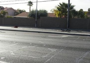 Debris litters the roadway after a multiple vehicle accident Monday. (Les Krifaton/LVMPD)