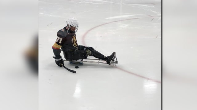 A player with the Vegas Golden Knights amputee team hits the ice for practice. (Mike Doria)