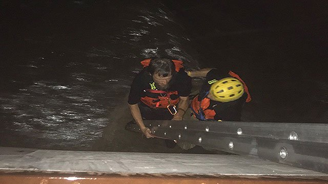 CCFD firefighters rescued a man from a flood channel on Flamingo Road July 9, 2018 (CCFD).