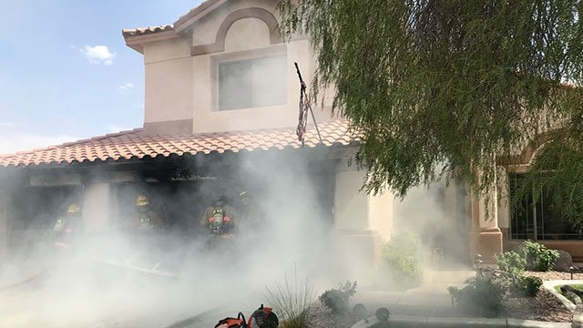 LVFR crews battles a garage fire in the Silverado Ranch community July 9, 2018 (CCFD).