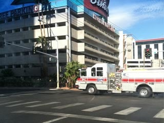 Fire trucks head to the Golden Nugget Hotel and Casino in downtown Las Vegas after reports of a fire on the 22nd floor. (Stefanie Jay/FOX5)