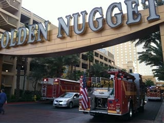 Fire trucks arrive at the Golden Nugget Casino and Hotel in downtown Las Vegas. (Stefanie Jay/FOX5)