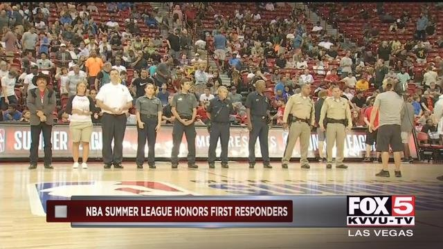 Summer League executives welcomed1 October survivors and first responders onto the court for an emotional tribute. (FOX5)