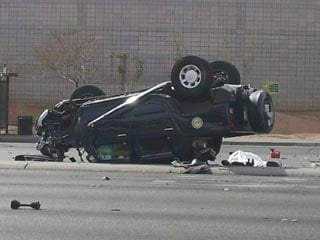 The driver of the Hummer was ejected when his vehicle rolled over. (Eric Youngman/FOX5)