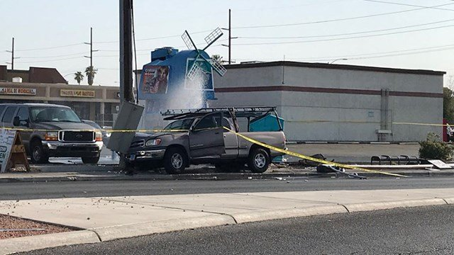 A pedestrian was killed in a fatal car crash in east Las Vegas on July 29, 2018. (Chernéy Amhara/FOX5)